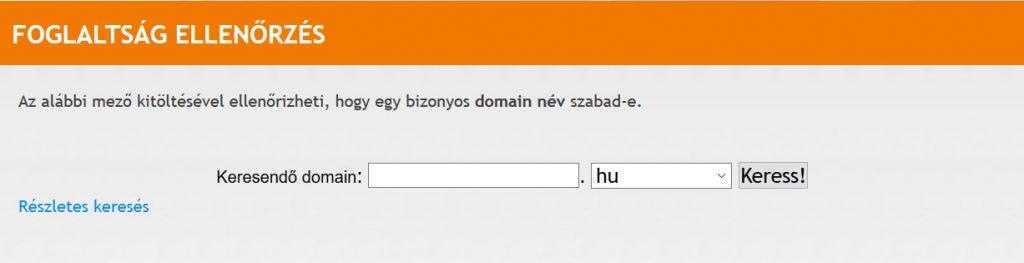 Domain regisztráció ellenőrzés a domain.hu-n
