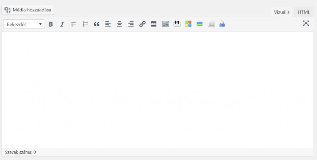 Wordpress oldal létrehozása szerkesztő